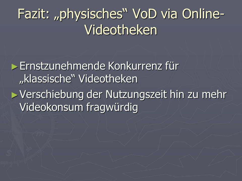 Fazit: physisches VoD via Online- Videotheken Ernstzunehmende Konkurrenz für klassische Videotheken Ernstzunehmende Konkurrenz für klassische Videotheken Verschiebung der Nutzungszeit hin zu mehr Videokonsum fragwürdig Verschiebung der Nutzungszeit hin zu mehr Videokonsum fragwürdig