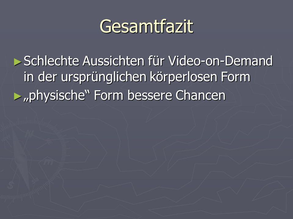 Gesamtfazit Schlechte Aussichten für Video-on-Demand in der ursprünglichen körperlosen Form Schlechte Aussichten für Video-on-Demand in der ursprünglichen körperlosen Form physische Form bessere Chancen physische Form bessere Chancen