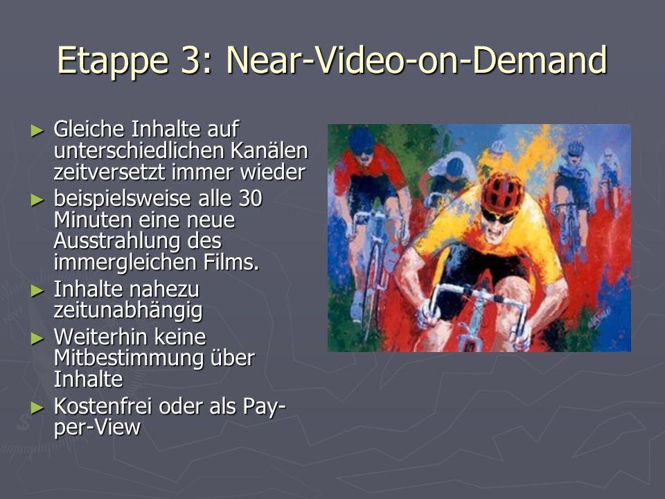 Etappe 3: Near-Video-on-Demand Gleiche Inhalte auf unterschiedlichen Kanälen zeitversetzt immer wieder Gleiche Inhalte auf unterschiedlichen Kanälen zeitversetzt immer wieder beispielsweise alle 30 Minuten eine neue Ausstrahlung des immergleichen Films.