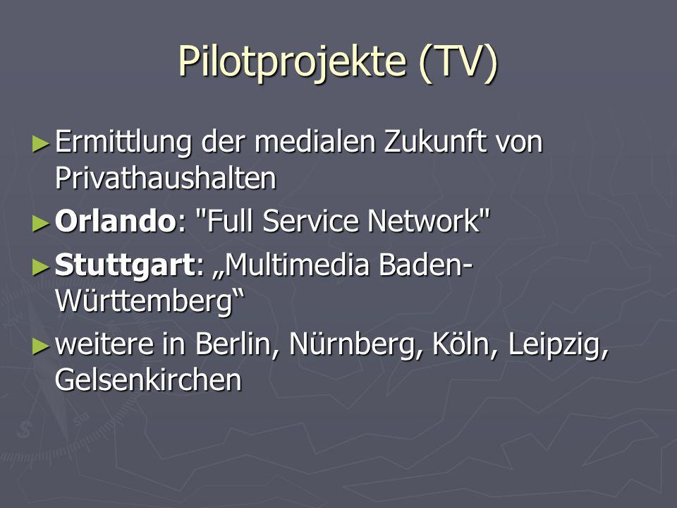 Scheitern der deutschen Projekte Telekom - Inhalte vernachlässigt Telekom - Inhalte vernachlässigt Wenig Investitionen von Medienunternehmen, Kooperationskonzept gescheitert Wenig Investitionen von Medienunternehmen, Kooperationskonzept gescheitert Fernseheanbieter wie DF1 spezialisierten sich derweil in Nvod (Pay-per-View, Pay-per-Channel) Fernseheanbieter wie DF1 spezialisierten sich derweil in Nvod (Pay-per-View, Pay-per-Channel) Streitereien um einheitl.