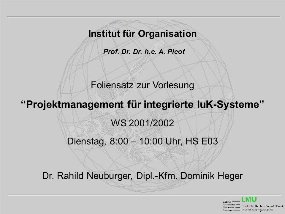 LMULMU Ludwig Maximilians Universität München Prof. Dr. Dr. h.c. Arnold Picot Institut für Organisation Prof. Dr. Dr. h.c. A. Picot Foliensatz zur Vor