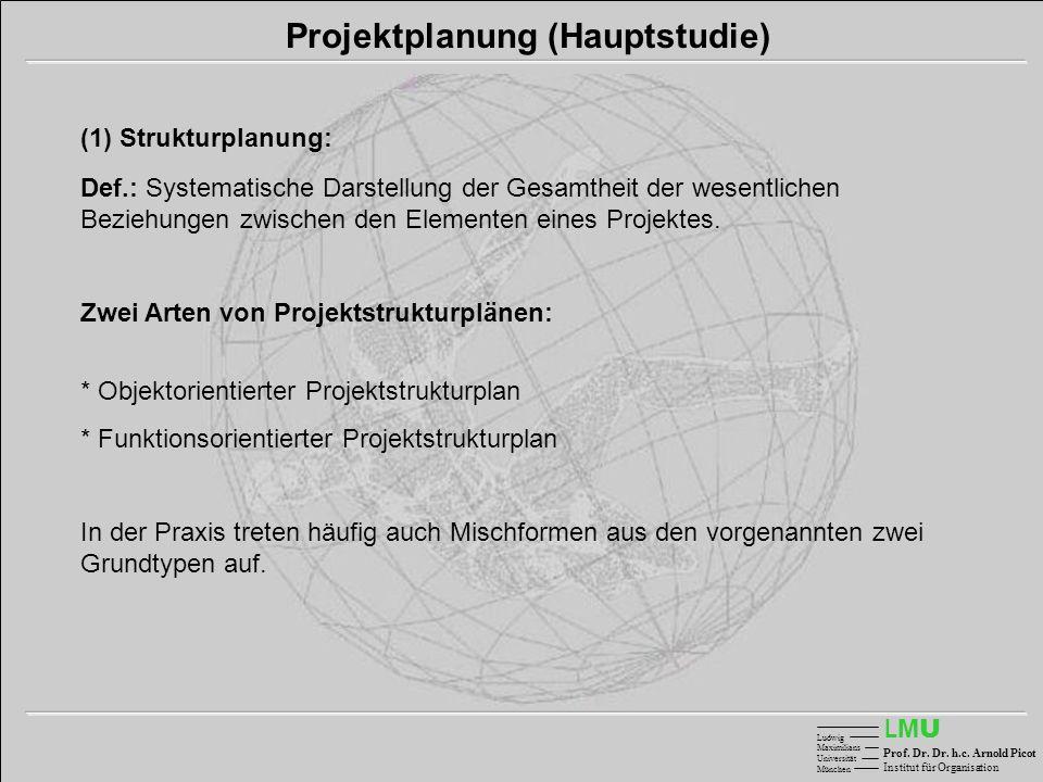 LMULMU Ludwig Maximilians Universität München Prof. Dr. Dr. h.c. Arnold Picot Institut für Organisation Projektplanung (Hauptstudie) (1) Strukturplanu