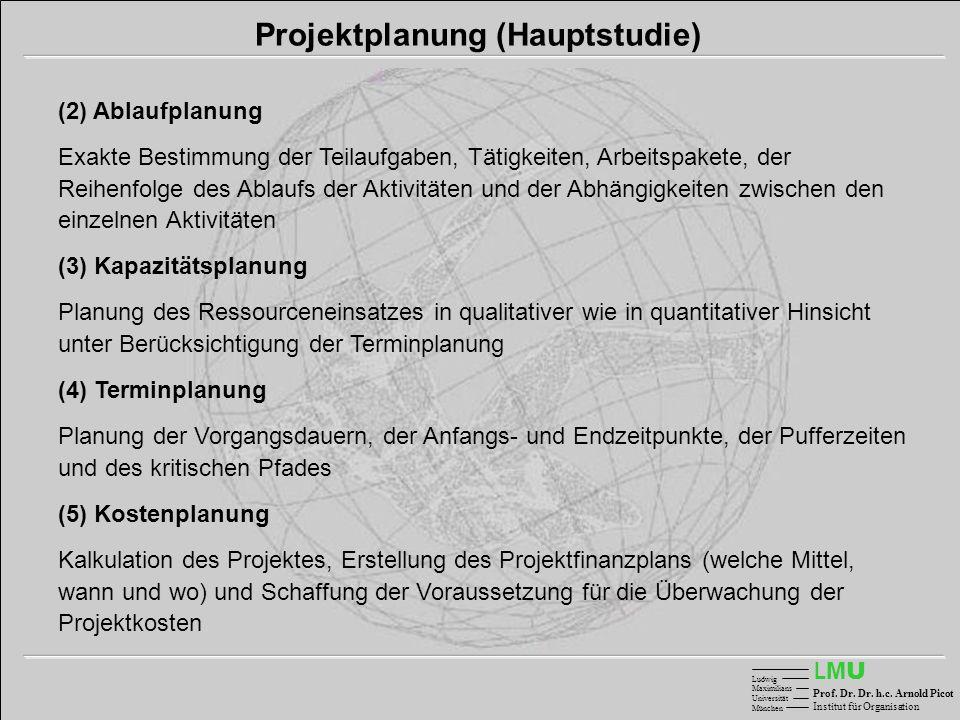 LMULMU Ludwig Maximilians Universität München Prof. Dr. Dr. h.c. Arnold Picot Institut für Organisation Projektplanung (Hauptstudie) (2) Ablaufplanung