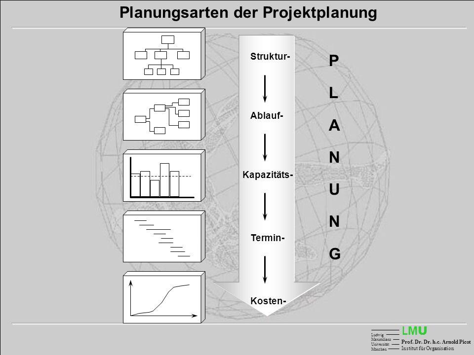 LMULMU Ludwig Maximilians Universität München Prof. Dr. Dr. h.c. Arnold Picot Institut für Organisation Struktur- Ablauf- Kapazitäts- Termin- Kosten-