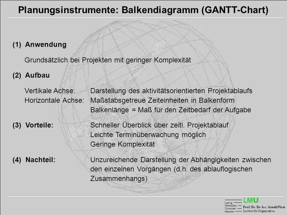 LMULMU Ludwig Maximilians Universität München Prof. Dr. Dr. h.c. Arnold Picot Institut für Organisation Planungsinstrumente: Balkendiagramm (GANTT-Cha