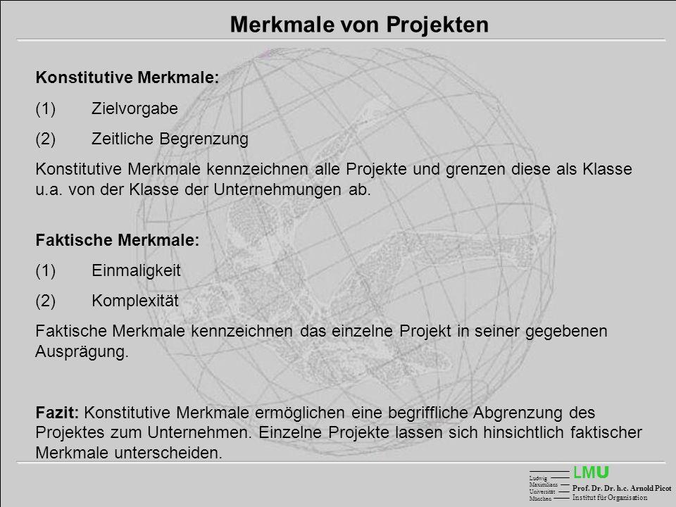 LMULMU Ludwig Maximilians Universität München Prof. Dr. Dr. h.c. Arnold Picot Institut für Organisation Merkmale von Projekten Konstitutive Merkmale:
