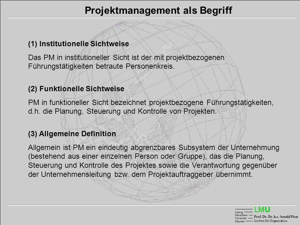 LMULMU Ludwig Maximilians Universität München Prof. Dr. Dr. h.c. Arnold Picot Institut für Organisation Projektmanagement als Begriff (1) Institutione