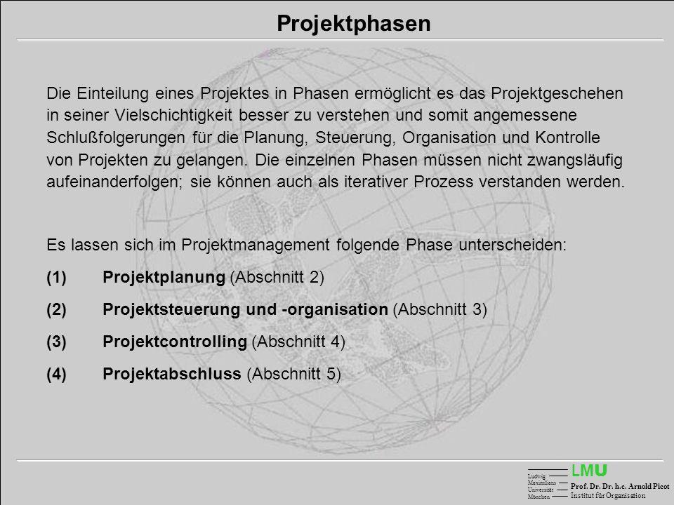 LMULMU Ludwig Maximilians Universität München Prof. Dr. Dr. h.c. Arnold Picot Institut für Organisation Projektphasen Die Einteilung eines Projektes i
