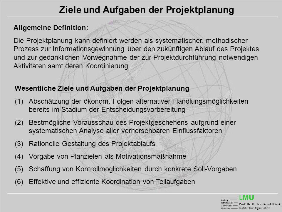 LMULMU Ludwig Maximilians Universität München Prof. Dr. Dr. h.c. Arnold Picot Institut für Organisation Ziele und Aufgaben der Projektplanung Allgemei
