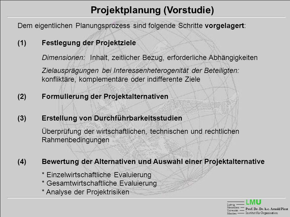 LMULMU Ludwig Maximilians Universität München Prof. Dr. Dr. h.c. Arnold Picot Institut für Organisation Projektplanung (Vorstudie) Dem eigentlichen Pl