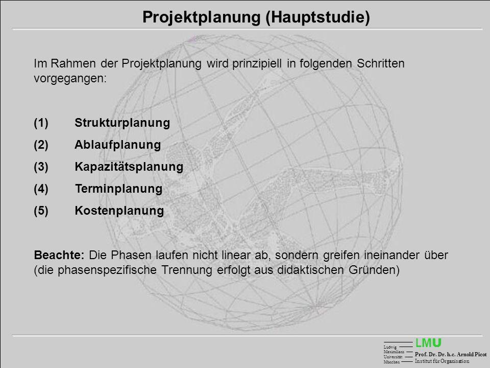 LMULMU Ludwig Maximilians Universität München Prof. Dr. Dr. h.c. Arnold Picot Institut für Organisation Projektplanung (Hauptstudie) Im Rahmen der Pro