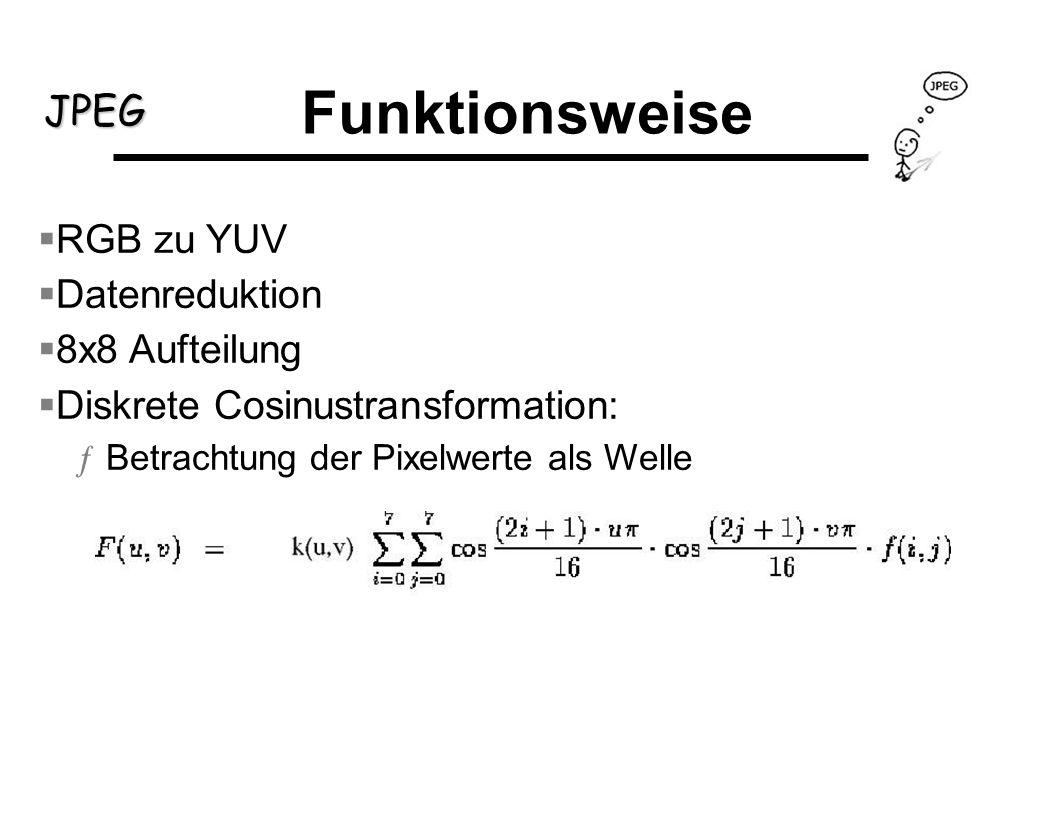 JPEG RGB zu YUV Datenreduktion 8x8 Aufteilung Diskrete Cosinustransformation: ƒBetrachtung der Pixelwerte als Welle Funktionsweise