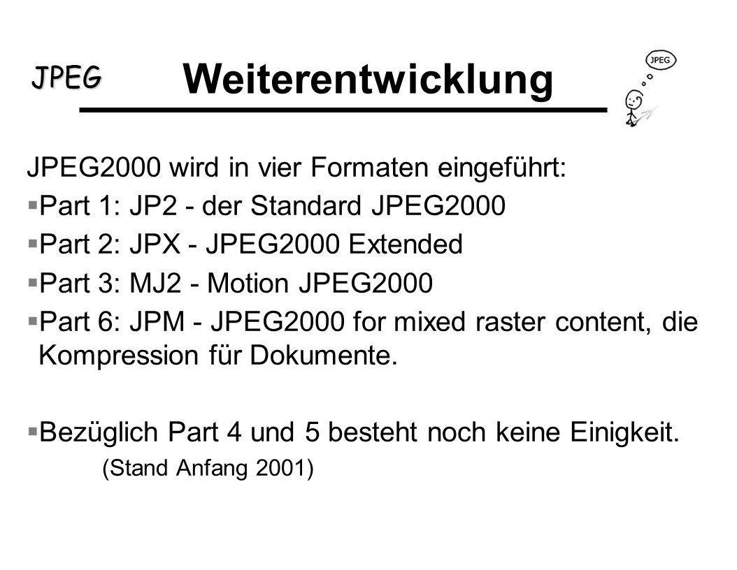 JPEG Weiterentwicklung JPEG2000 wird in vier Formaten eingeführt: Part 1: JP2 - der Standard JPEG2000 Part 2: JPX - JPEG2000 Extended Part 3: MJ2 - Mo
