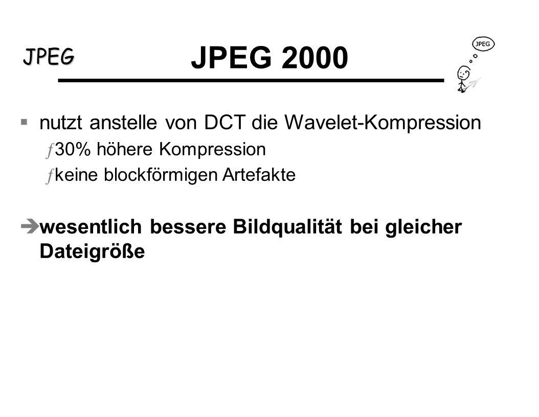 JPEG JPEG 2000 nutzt anstelle von DCT die Wavelet-Kompression ƒ30% höhere Kompression ƒkeine blockförmigen Artefakte wesentlich bessere Bildqualität b