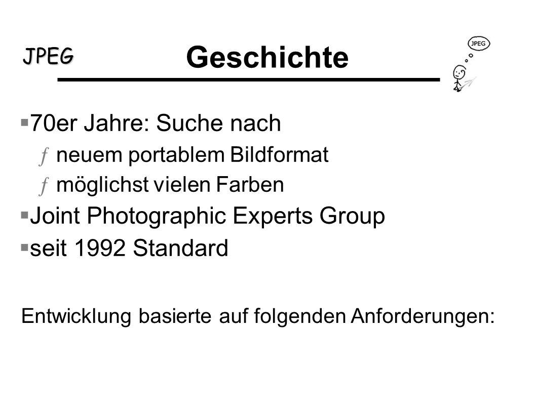 JPEG Geschichte 70er Jahre: Suche nach ƒneuem portablem Bildformat ƒmöglichst vielen Farben Joint Photographic Experts Group seit 1992 Standard Entwic