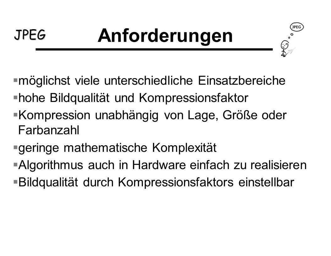 JPEG Huffmann Encoding: die entstandene Folge von Symbolen wird weiter komprimiert häufig benutzte Zeichen werden durch kürzere Symbole ersetzt