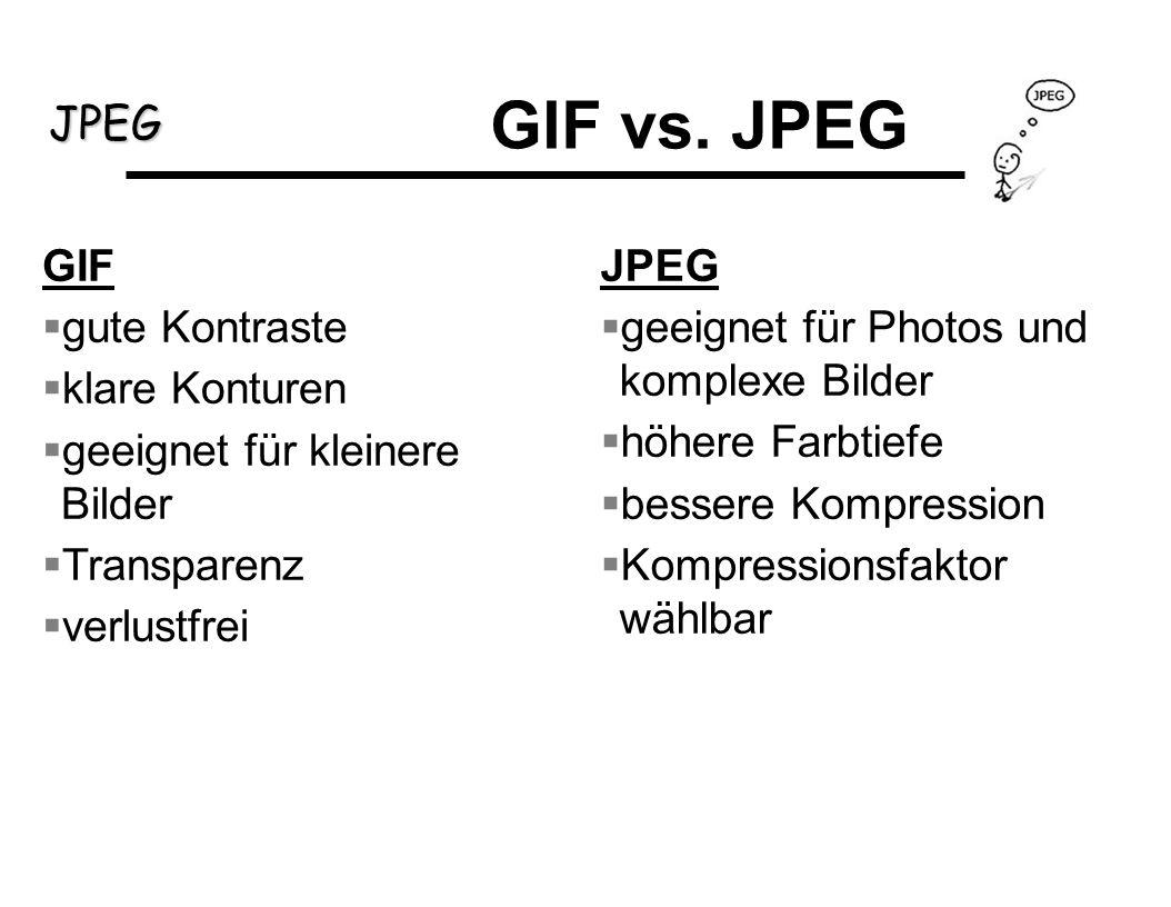 JPEG GIF gute Kontraste klare Konturen geeignet für kleinere Bilder Transparenz verlustfrei JPEG geeignet für Photos und komplexe Bilder höhere Farbti