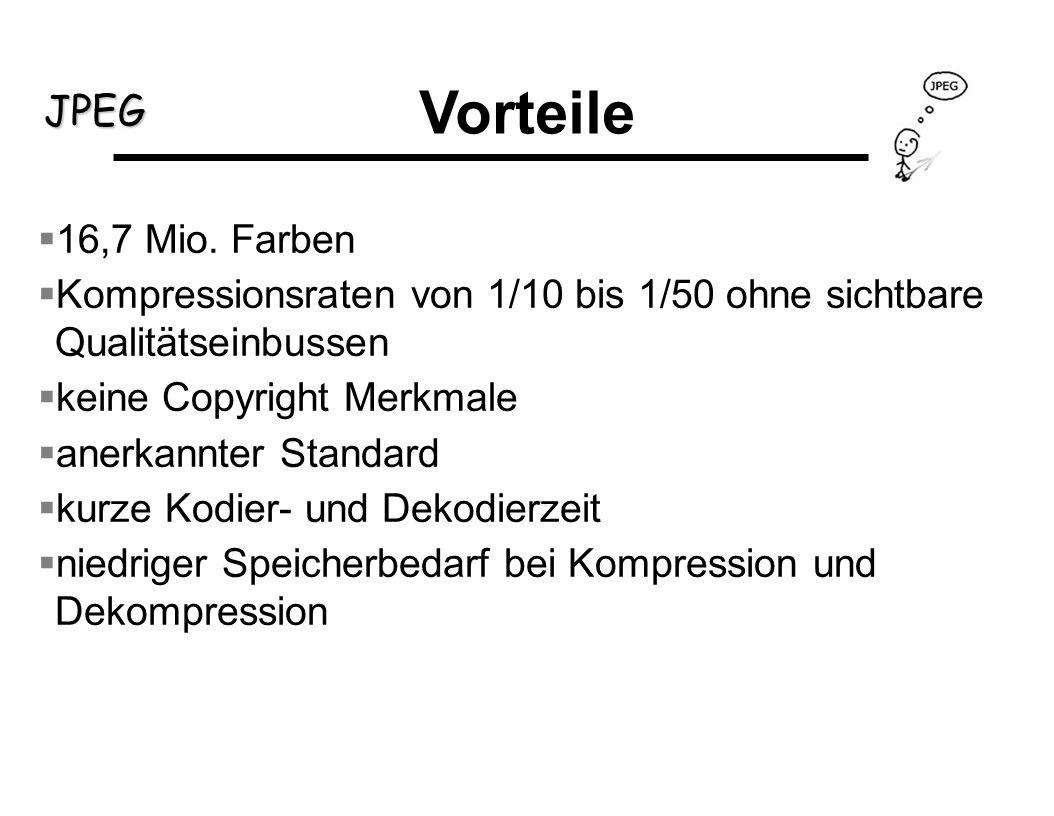 JPEG Vorteile 16,7 Mio. Farben Kompressionsraten von 1/10 bis 1/50 ohne sichtbare Qualitätseinbussen keine Copyright Merkmale anerkannter Standard kur