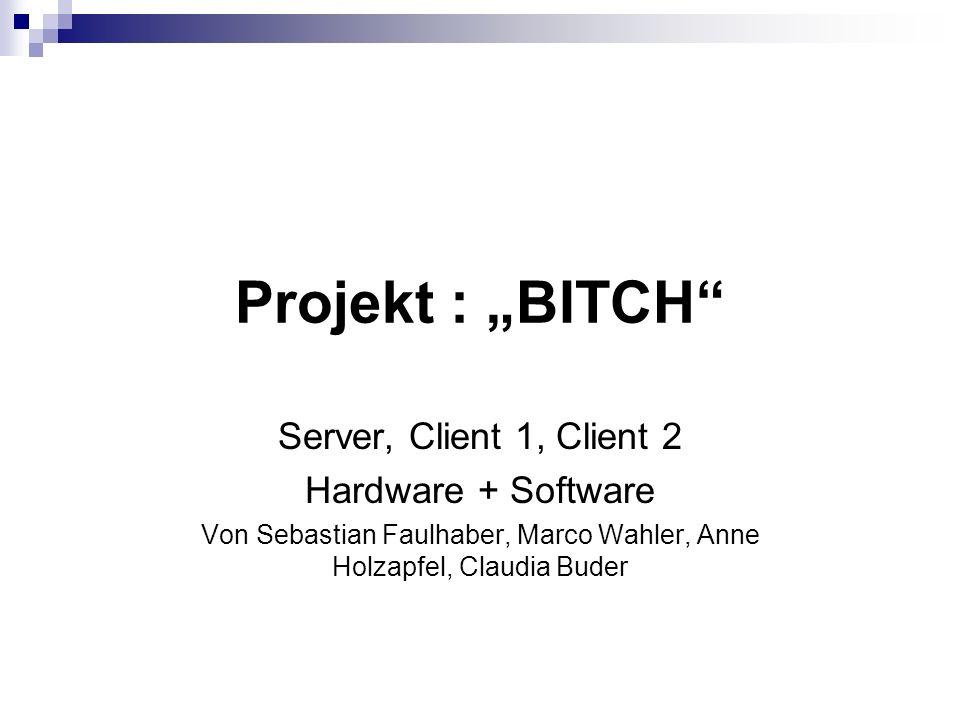 Projekt : BITCH Server, Client 1, Client 2 Hardware + Software Von Sebastian Faulhaber, Marco Wahler, Anne Holzapfel, Claudia Buder