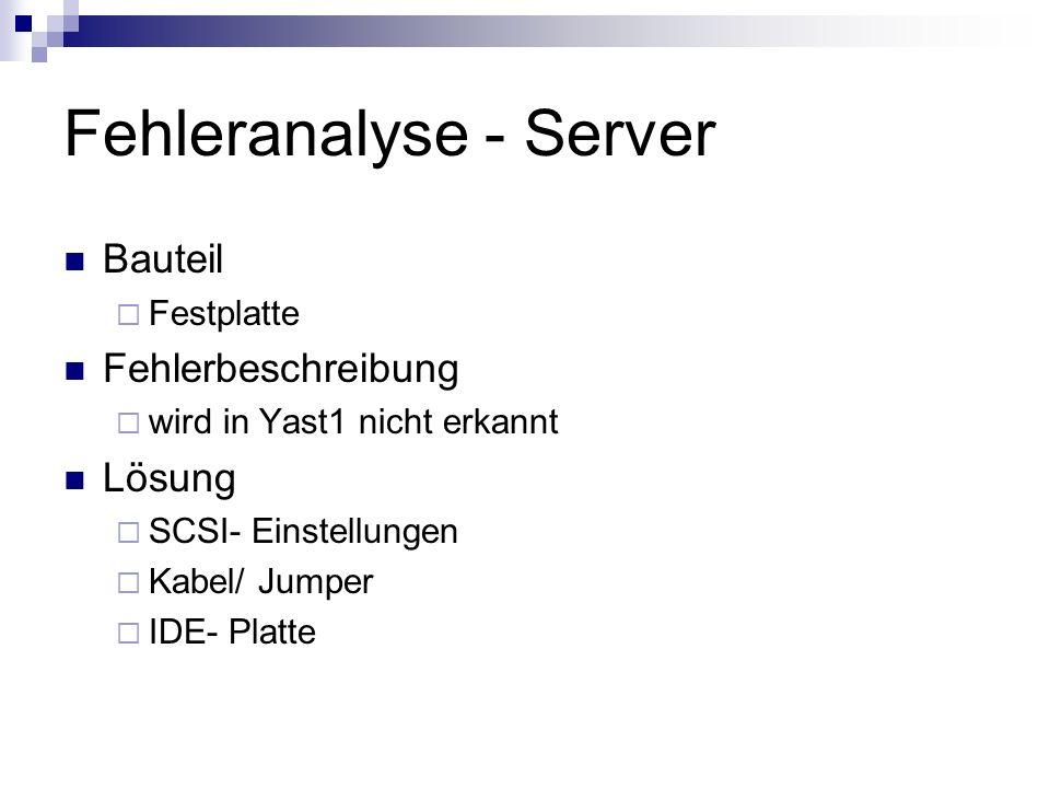 Fehleranalyse - Server Bauteil Festplatte Fehlerbeschreibung wird in Yast1 nicht erkannt Lösung SCSI- Einstellungen Kabel/ Jumper IDE- Platte