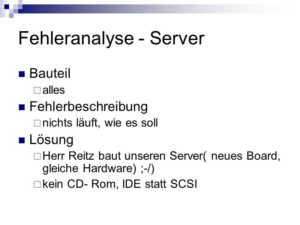 Fehleranalyse - Server Bauteil alles Fehlerbeschreibung nichts läuft, wie es soll Lösung Herr Reitz baut unseren Server( neues Board, gleiche Hardware