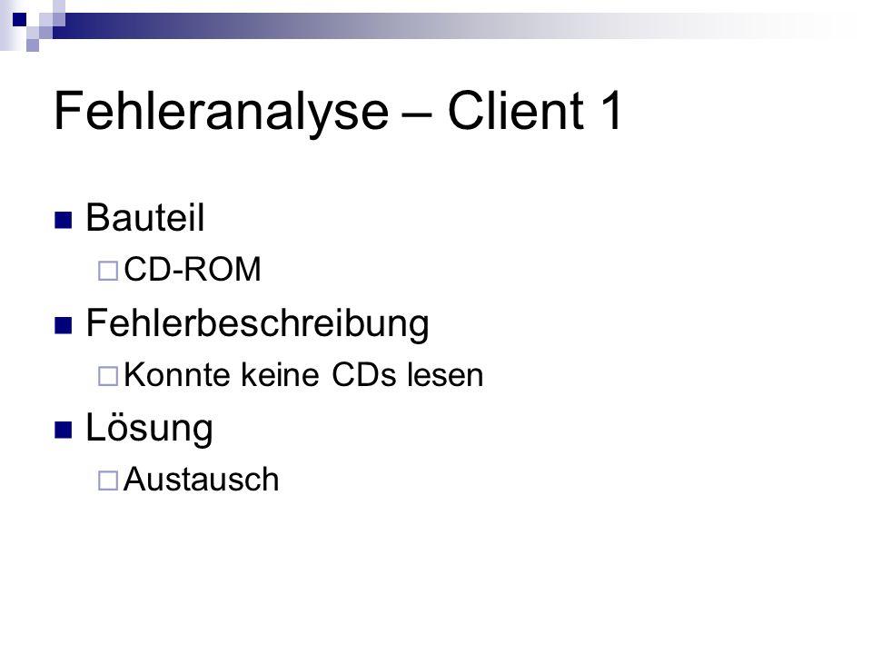 Fehleranalyse – Client 1 Bauteil CD-ROM Fehlerbeschreibung Konnte keine CDs lesen Lösung Austausch