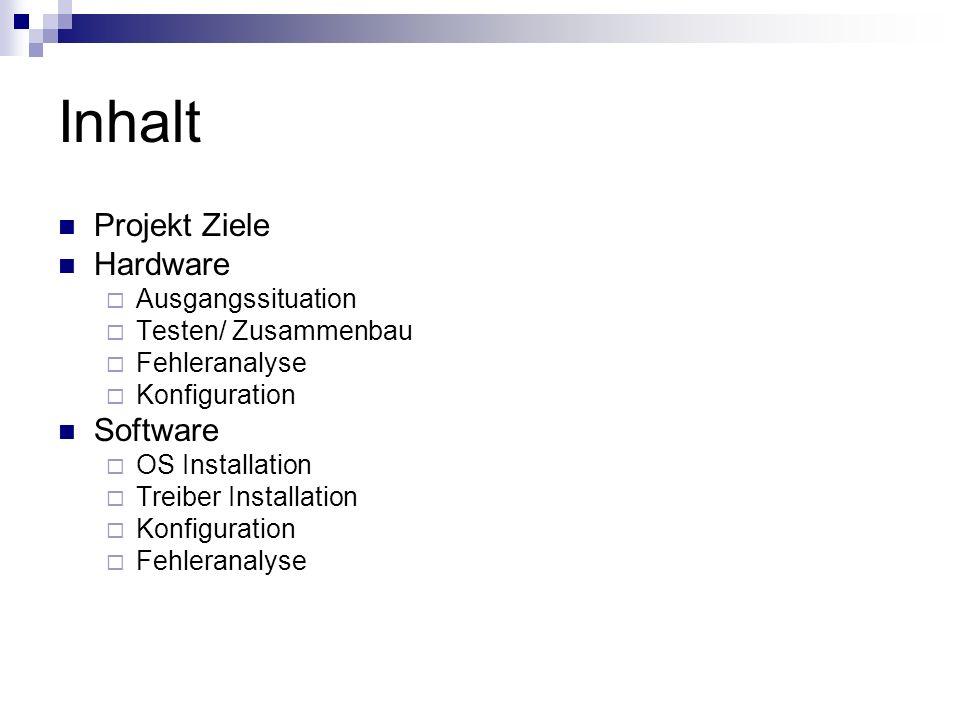 Inhalt Projekt Ziele Hardware Ausgangssituation Testen/ Zusammenbau Fehleranalyse Konfiguration Software OS Installation Treiber Installation Konfigur