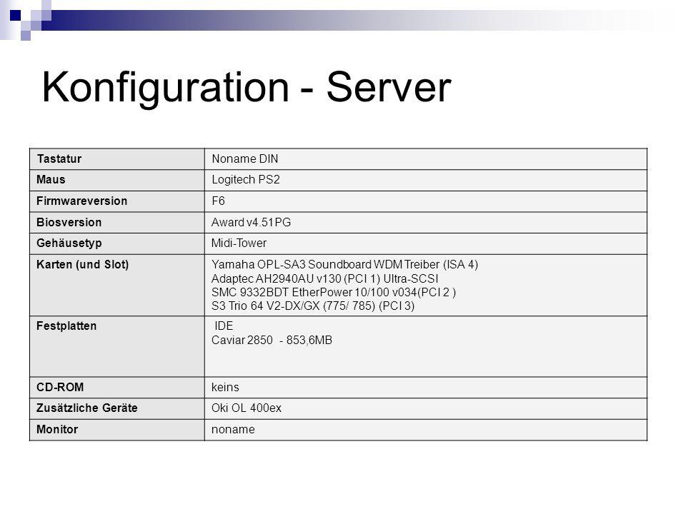 Konfiguration - Server TastaturNoname DIN MausLogitech PS2 FirmwareversionF6 BiosversionAward v4.51PG GehäusetypMidi-Tower Karten (und Slot)Yamaha OPL
