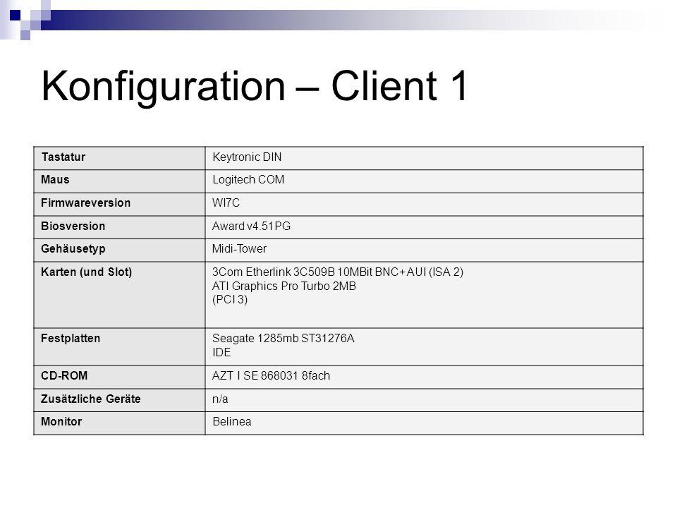 Konfiguration – Client 1 TastaturKeytronic DIN MausLogitech COM FirmwareversionWI7C BiosversionAward v4.51PG GehäusetypMidi-Tower Karten (und Slot)3Co