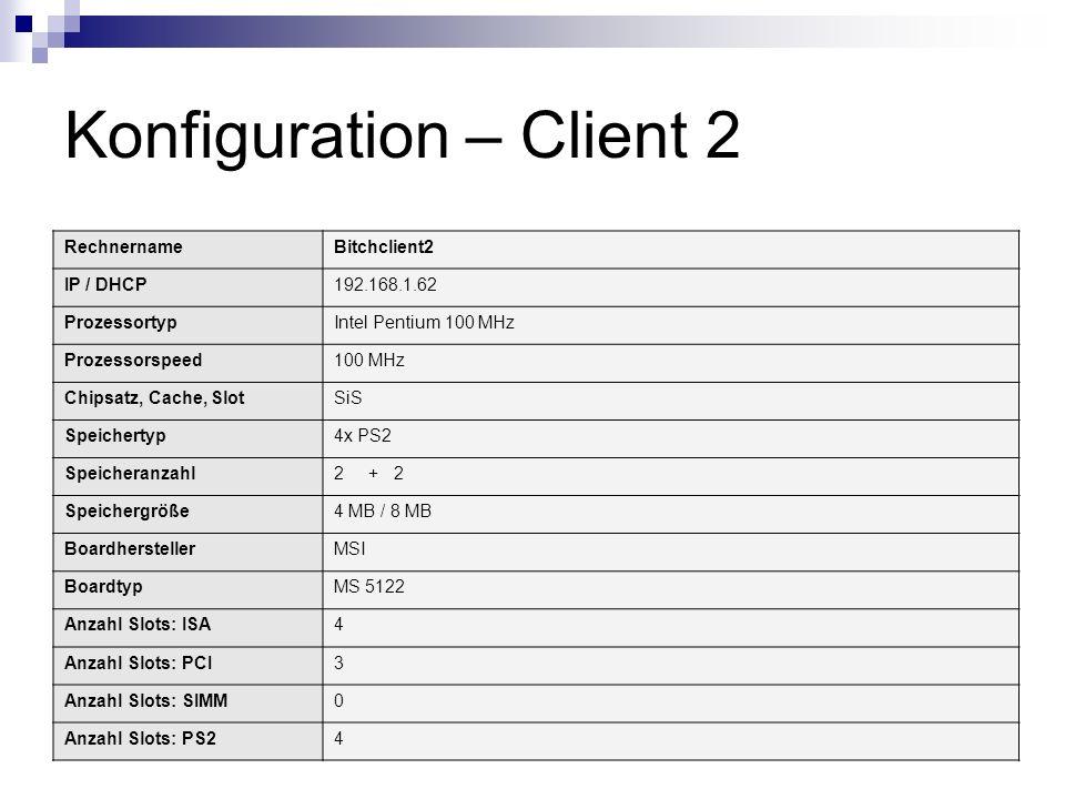 Konfiguration – Client 2 RechnernameBitchclient2 IP / DHCP192.168.1.62 ProzessortypIntel Pentium 100 MHz Prozessorspeed100 MHz Chipsatz, Cache, SlotSi