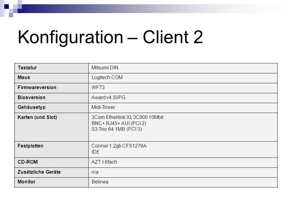 Konfiguration – Client 2 TastaturMitsumi DIN MausLogitech COM FirmwareversionWF73 BiosversionAward v4.50PG GehäusetypMidi-Tower Karten (und Slot)3Com