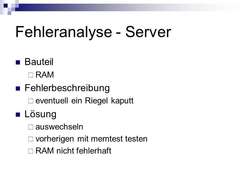 Fehleranalyse – Client 2 Bauteil Netzwerkkarte Fehlerbeschreibung Falsche Ansteuerung nach außen (AUI) Lösung Download von 3COM Etherdisk (DOS Tool) Booten mit Bootdiskette Änderung auf BNC