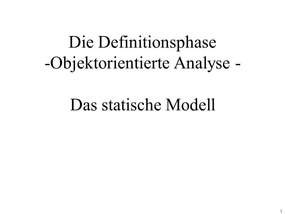 1 Die Definitionsphase -Objektorientierte Analyse - Das statische Modell