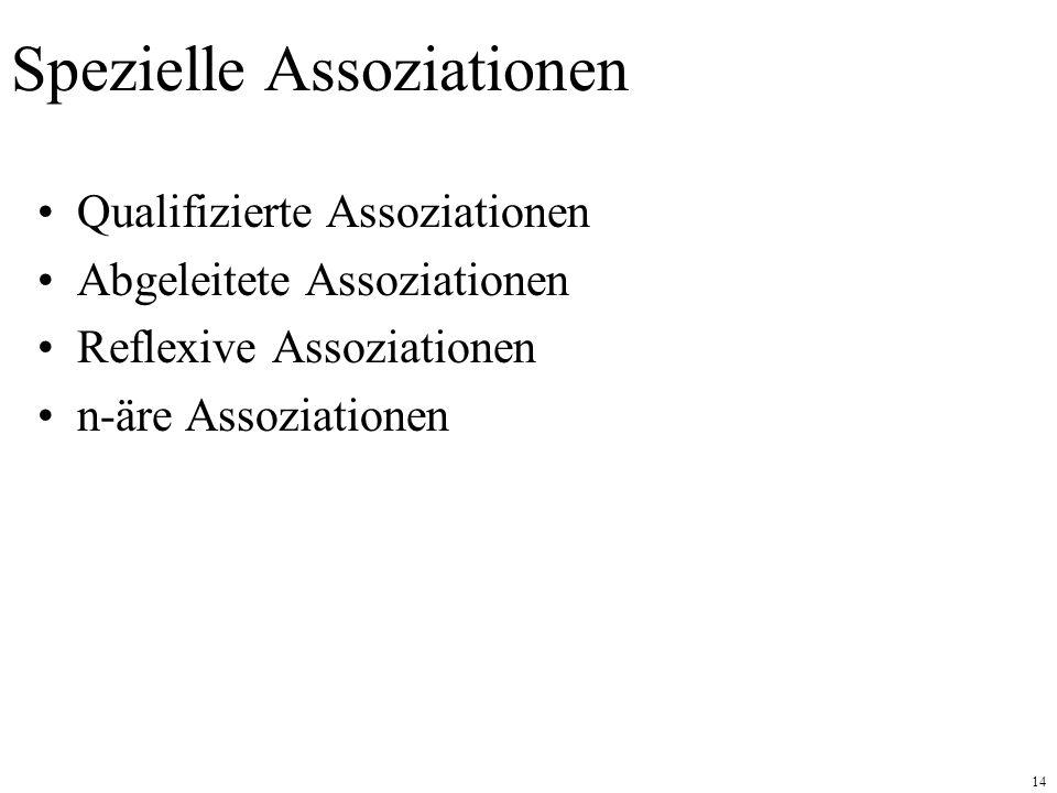 14 Spezielle Assoziationen Qualifizierte Assoziationen Abgeleitete Assoziationen Reflexive Assoziationen n-äre Assoziationen