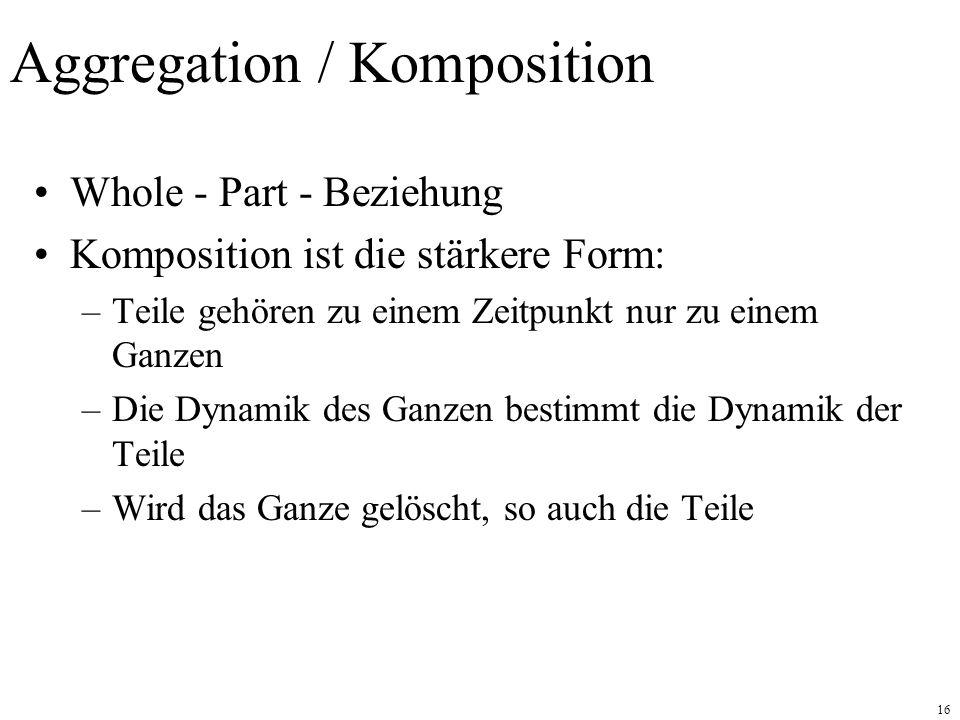 16 Aggregation / Komposition Whole - Part - Beziehung Komposition ist die stärkere Form: –Teile gehören zu einem Zeitpunkt nur zu einem Ganzen –Die Dynamik des Ganzen bestimmt die Dynamik der Teile –Wird das Ganze gelöscht, so auch die Teile