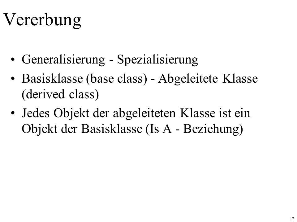 17 Vererbung Generalisierung - Spezialisierung Basisklasse (base class) - Abgeleitete Klasse (derived class) Jedes Objekt der abgeleiteten Klasse ist ein Objekt der Basisklasse (Is A - Beziehung)