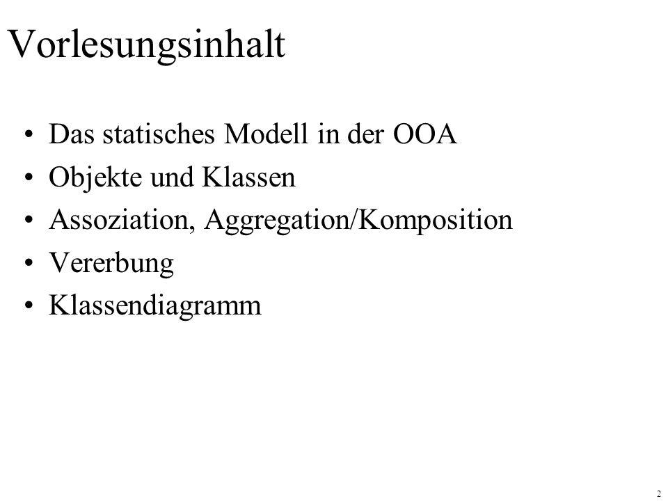 2 Vorlesungsinhalt Das statisches Modell in der OOA Objekte und Klassen Assoziation, Aggregation/Komposition Vererbung Klassendiagramm