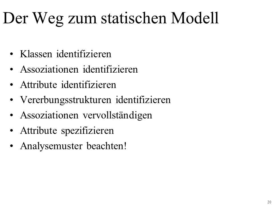 20 Der Weg zum statischen Modell Klassen identifizieren Assoziationen identifizieren Attribute identifizieren Vererbungsstrukturen identifizieren Asso