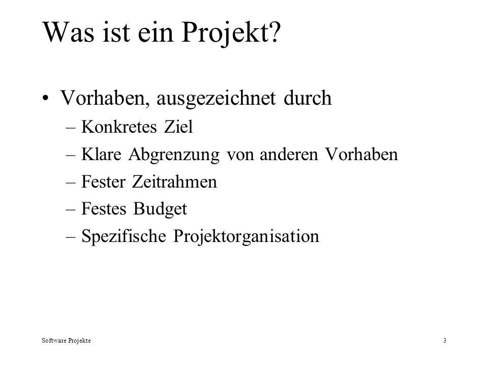Software Projekte3 Was ist ein Projekt? Vorhaben, ausgezeichnet durch –Konkretes Ziel –Klare Abgrenzung von anderen Vorhaben –Fester Zeitrahmen –Feste