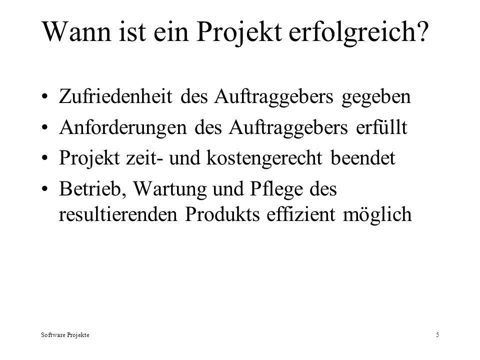 Software Projekte5 Wann ist ein Projekt erfolgreich? Zufriedenheit des Auftraggebers gegeben Anforderungen des Auftraggebers erfüllt Projekt zeit- und