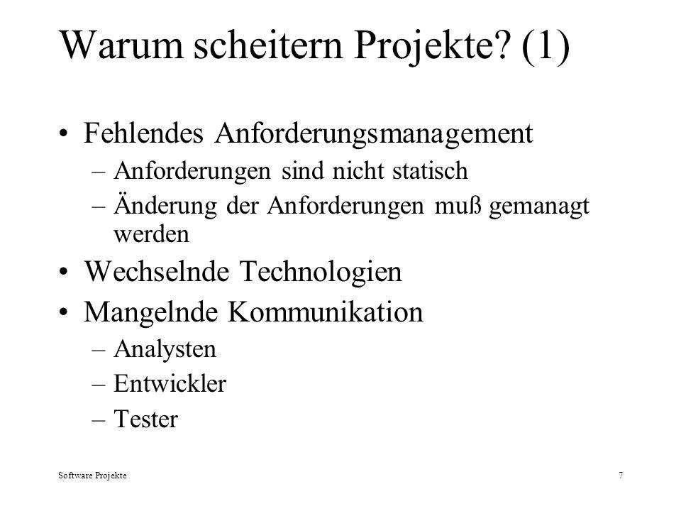 Software Projekte7 Warum scheitern Projekte? (1) Fehlendes Anforderungsmanagement –Anforderungen sind nicht statisch –Änderung der Anforderungen muß g