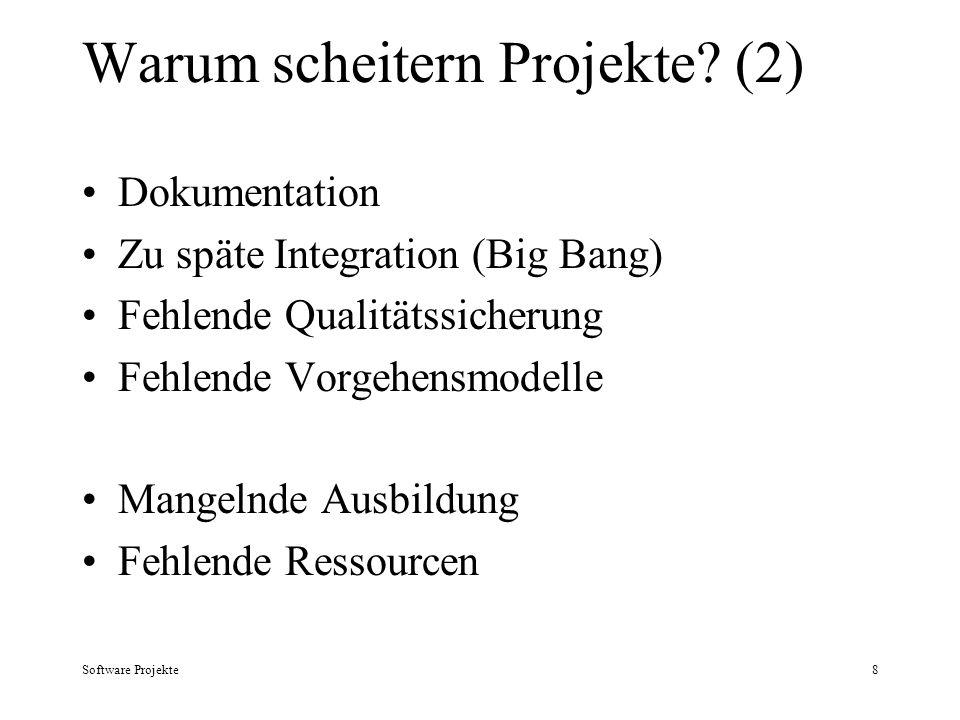 Software Projekte8 Warum scheitern Projekte? (2) Dokumentation Zu späte Integration (Big Bang) Fehlende Qualitätssicherung Fehlende Vorgehensmodelle M