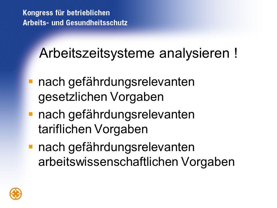 Arbeitszeitsysteme analysieren ! nach gefährdungsrelevanten gesetzlichen Vorgaben nach gefährdungsrelevanten tariflichen Vorgaben nach gefährdungsrele
