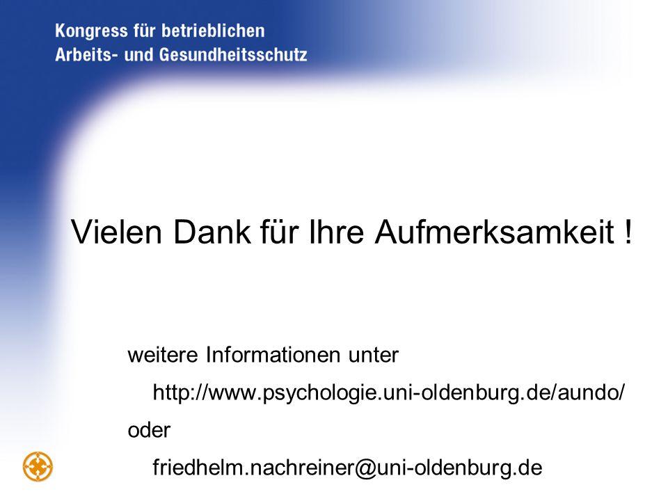 Vielen Dank für Ihre Aufmerksamkeit ! weitere Informationen unter http://www.psychologie.uni-oldenburg.de/aundo/ oder friedhelm.nachreiner@uni-oldenbu