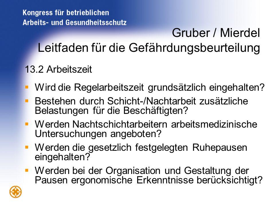 Gruber / Mierdel Leitfaden für die Gefährdungsbeurteilung 13.2 Arbeitszeit Wird die Regelarbeitszeit grundsätzlich eingehalten? Bestehen durch Schicht