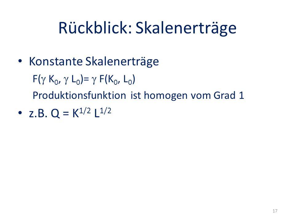 Rückblick: Skalenerträge Konstante Skalenerträge F( K 0, L 0 )= F(K 0, L 0 ) Produktionsfunktion ist homogen vom Grad 1 z.B. Q = K 1/2 L 1/2 17
