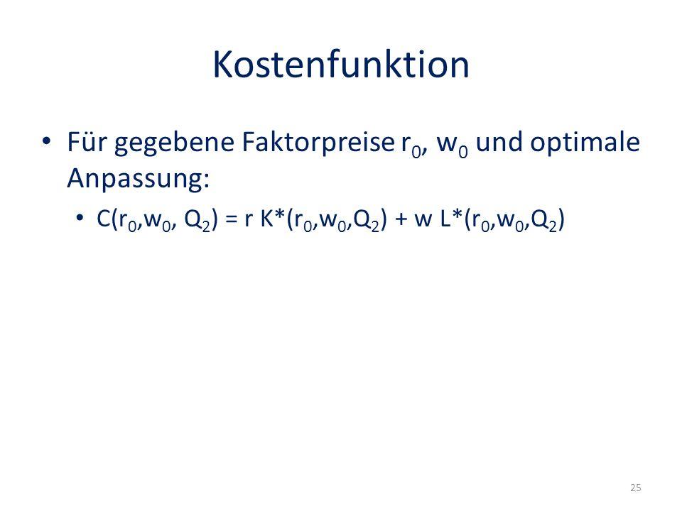 Kostenfunktion Für gegebene Faktorpreise r 0, w 0 und optimale Anpassung: C(r 0,w 0, Q 2 ) = r K*(r 0,w 0,Q 2 ) + w L*(r 0,w 0,Q 2 ) 25