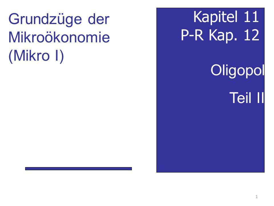 Oligopol Teil II Kapitel 11 P-R Kap. 12 Grundzüge der Mikroökonomie (Mikro I) 1