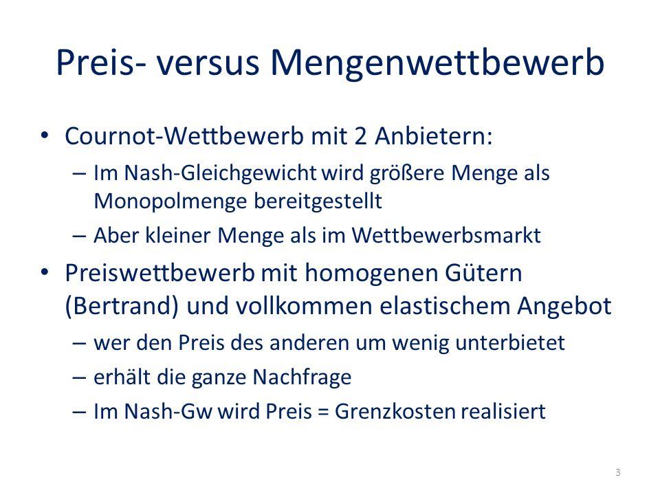 Preis- versus Mengenwettbewerb Cournot-Wettbewerb mit 2 Anbietern: – Im Nash-Gleichgewicht wird größere Menge als Monopolmenge bereitgestellt – Aber k