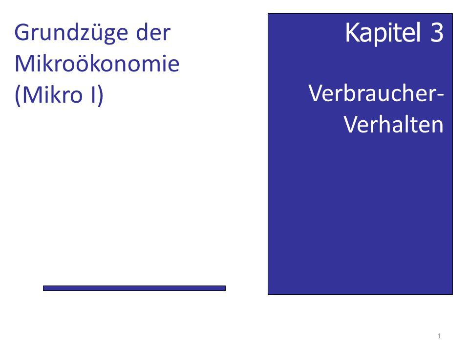 Verbraucher- Verhalten Kapitel 3 Grundzüge der Mikroökonomie (Mikro I) 1
